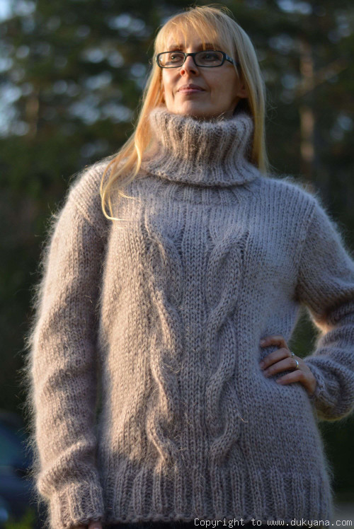 Handmade soft mohair classic Tneck cable sweater