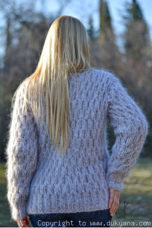On request Knitted mohair sweater T-neck warm pullover in frosty beige