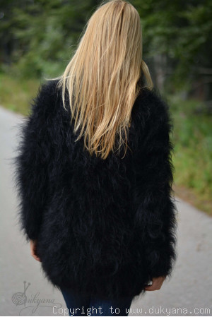 Tneck soft and fuzzy mohair sweater in black