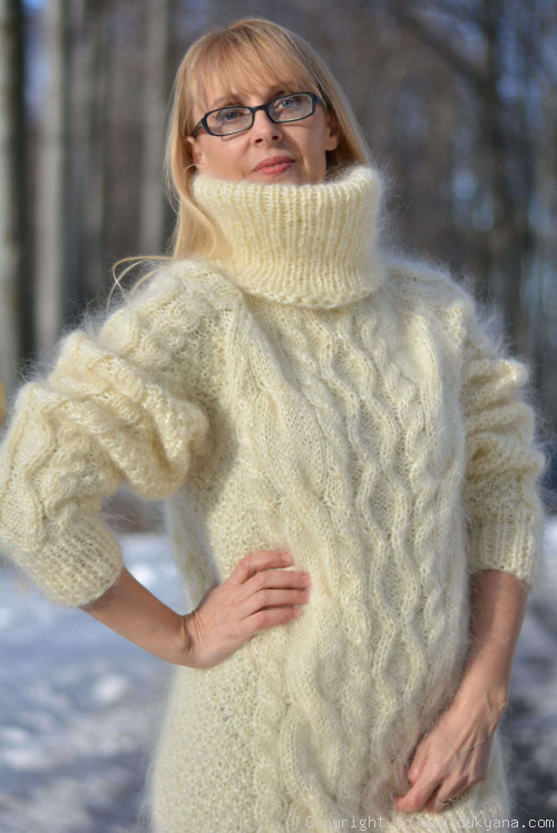 Handmade soft mohair Raglan sleeve Tneck cable sweater