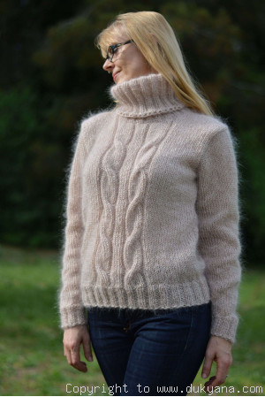 Classic cabled Tneck mohair sweater