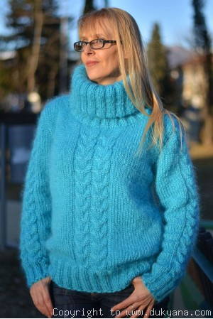 Knitted classic cable Tneck womens mohair sweater