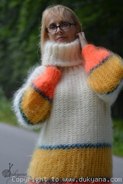 Hand knitted soft and silky T-neck striped mohair sweater