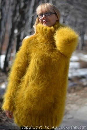Tneck soft and fuzzy mohair sweater in mustard yellow