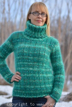 Hand knitted wool mohair mix Turtleneck sweater in green