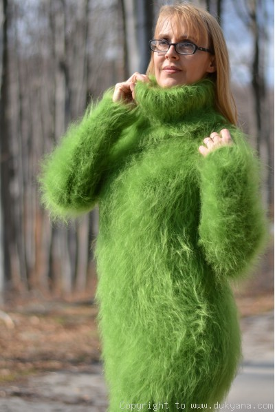 Tneck soft and fuzzy mohair sweater in grass green