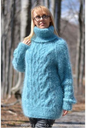 Handmade soft mohair Raglan sleeve Tneck cable sweater