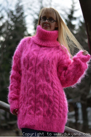 Hand knitted cabled T-neck mohair sweater in hot pink