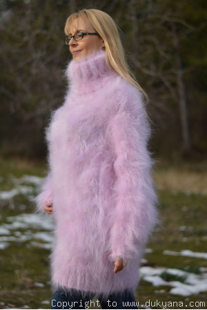 Tneck soft and fuzzy mohair sweater in pink