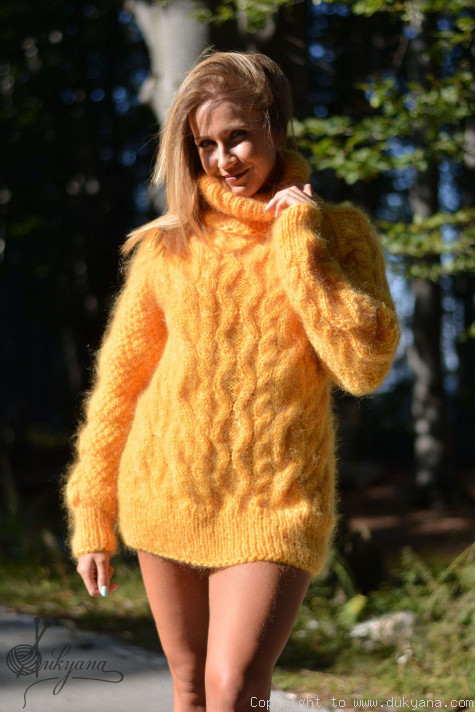 Handmade Aran Sweater Knitted With Premium Mohair T78