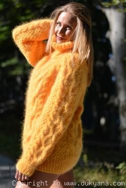 Handmade aran sweater knitted with premium mohair
