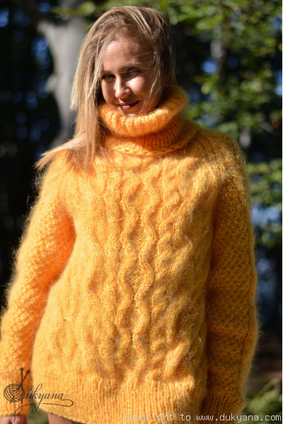 Handmade aran sweater knitted with premium mohair