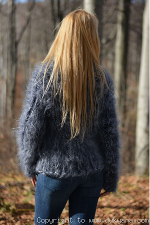 Handmade chunky and soft womens mohair Tneck sweater in gray mix
