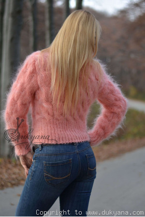 Cropped cabled mohair T-neck sweater