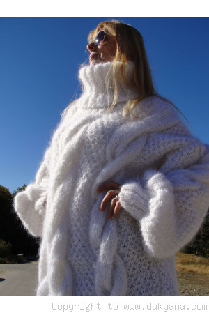 Handmade oversized mohair T-neck cabled sweater in white