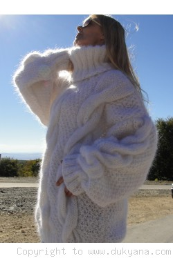 On request Handmade oversized mohair T-neck cabled sweater in white