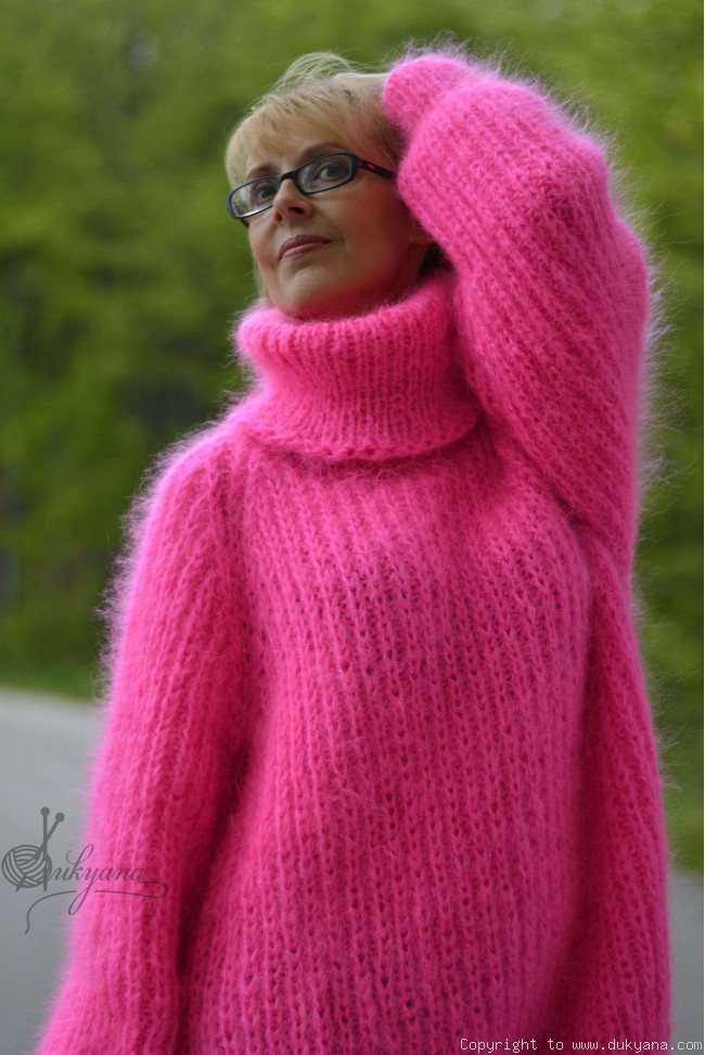 24ef7396a027 Handknt mohair sweater Turtleneck jumper soft pullover T9