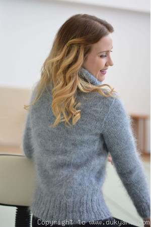Classic cabled Tneck mohair sweater in gray