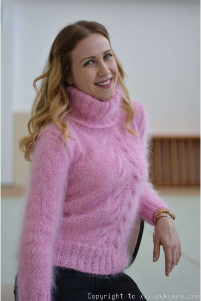 Classic cabled Tneck mohair sweater in pink