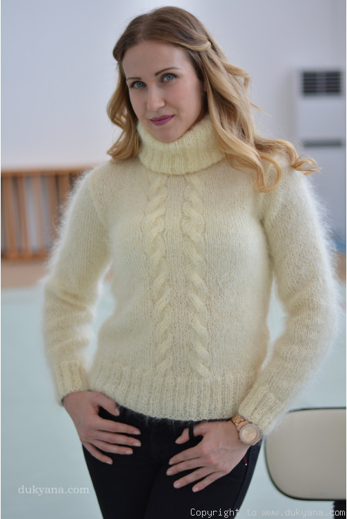 Classic cabled Tneck mohair sweater in cream white