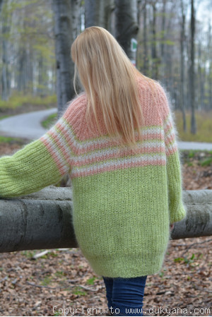 Oversized raglan sleeve mohair sweater in mint