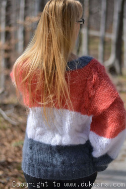 Summer mohair sweater striped V-neck