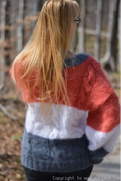 Summer mohair sweater striped V-neck