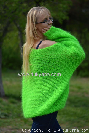 Summer slouchy mohair V-neck sweater in neon green ON REQUEST