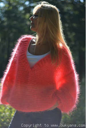 Oversized mohair V-neck sweater in vibrant orange
