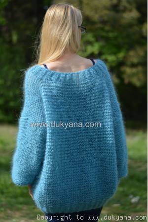 Summer  slouchy mohair V-neck sweater in  aqua