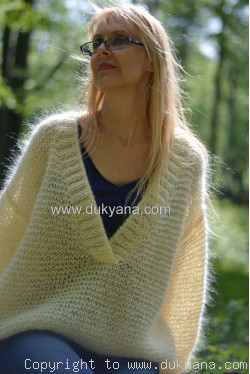 Oversized mohair V-neck sweater in cream white