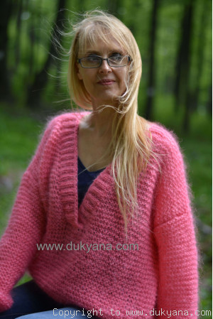 Oversized summer mohair V-neck sweater in candy pink