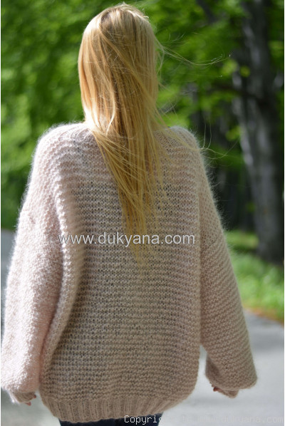 Summer slouchy mohair V-neck sweater in beige