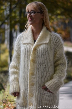 On request Collared mens mohair cardigan hand knitted in Ivory