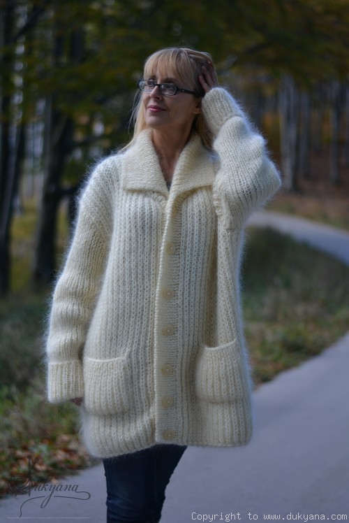 Collared mens mohair cardigan hand knitted in Ivory
