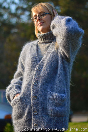 On request Knitted mens cardigan soft mohair V-neck sweater