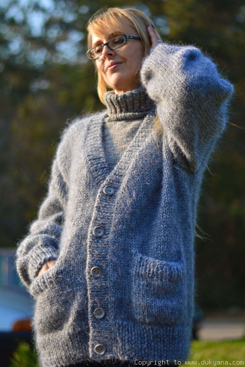 Knitted mens cardigan soft mohair V-neck sweater