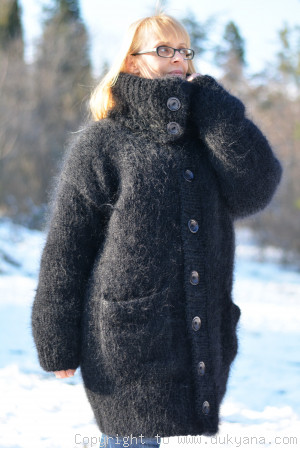 Mens mohair cardigan with a Tneck collar in black