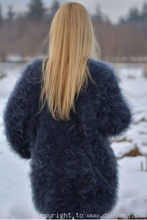 Mohair V-neck mens cardigan hand knitted