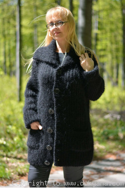 Collared mens mohair cardigan hand knitted