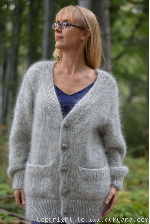 V-neck mens mohair cardigan in heather gray