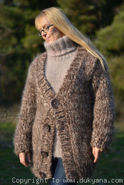 On request Chunky Vneck mens mohair cardigan in brown