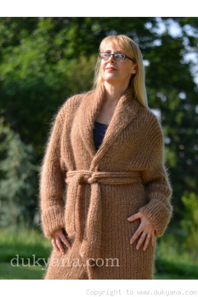 Shawl collared mens long mohair cardigan hand knitted