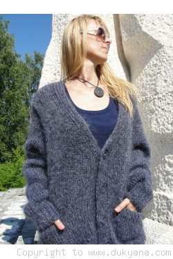 V-neck mens mohair cardigan in dark gray