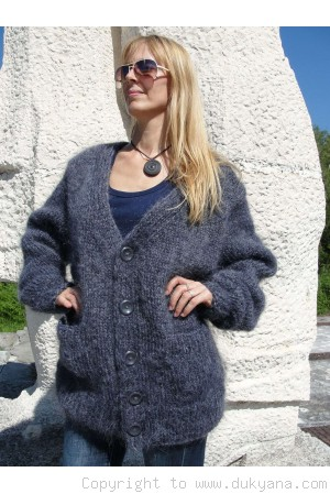On request V-neck mens mohair cardigan in dark gray