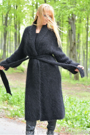 On request V-neck mens mohair ribbed cardigan robe hand knitted plus size
