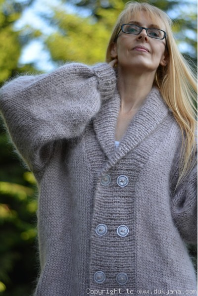 Shawl-collared mens mohair cardigan hand knitted