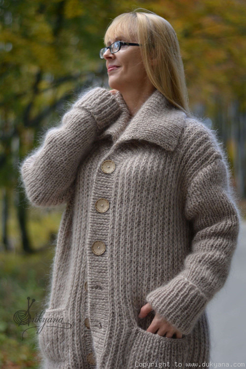 Collared mens mohair cardigan hand knitted in beige