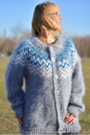 On request Icelandic mens mohair cardigan hand knitted in gray