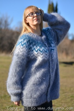 Mens mohair cardigan Icelandic design hand knitted in gray